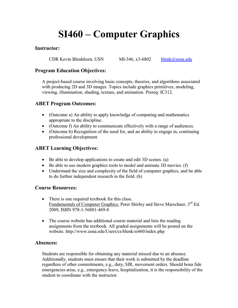 SI460 – Computer Graphics Instructor: Program Education Objectives: