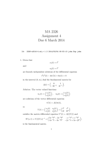 MA 2326 Assignment 4 Due 6 March 2014