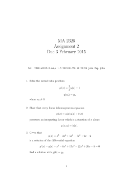 MA 2326 Assignment 2 Due 3 February 2015