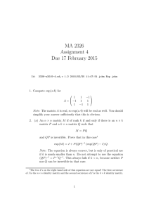MA 2326 Assignment 4 Due 17 February 2015