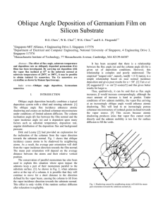 Oblique Angle Deposition of Germanium Film on Silicon Substrate