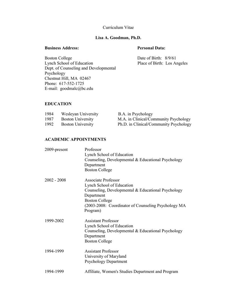 Curriculum Vitae Boston College Date Of Birth 8961
