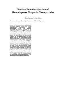 Surface Functionalization of Monodisperse Magnetic Nanoparticles  Marco Lattuada, T. Alan Hatton