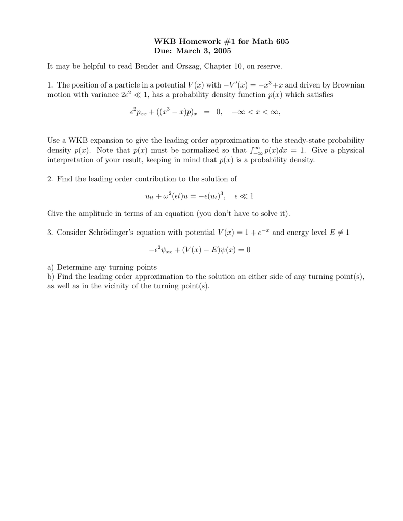 wkb approximation homework