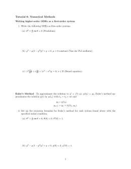 Tutorial 8: Numerical Methods