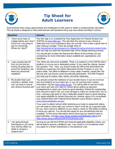 Tip Sheet for Adult Learners