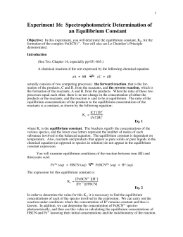 lab report for equilibrium constant for fescn2 Equilibrium constant kc lab chemistry with computers 20 - 1 chemical equilibrium: determination of k c the purpose of this lab is to experimentally determine the equilibrium constant, k.