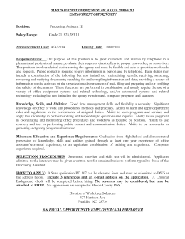 MACON COUNTY DEPARTMENT OF SOCIAL SERVICES EMPLOYMENT OPPORTUNITY  Position: