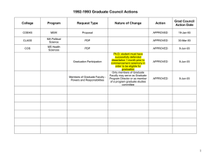 1992-1993 Graduate Council Actions  Grad Council College
