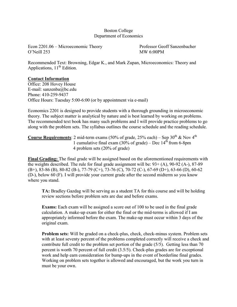 Boston College Department of Economics Econ 2201.06 – Microeconomic Theory