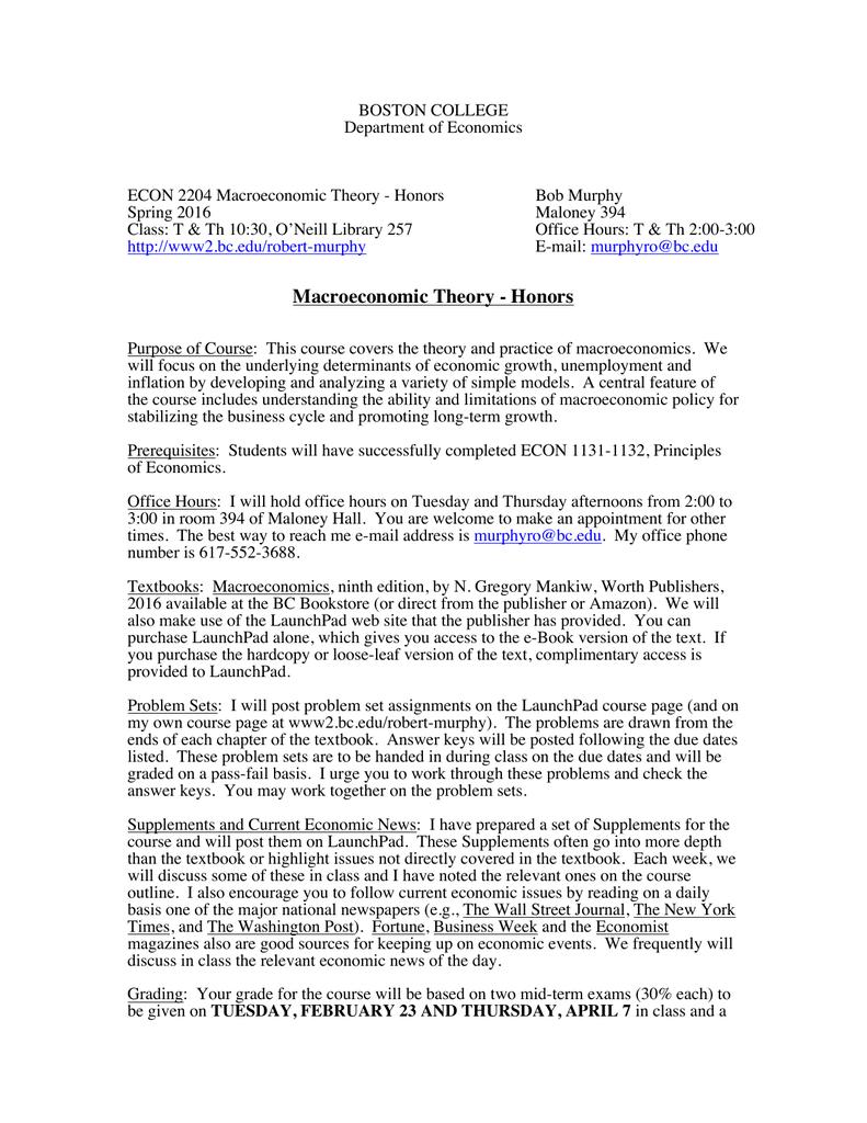 BOSTON COLLEGE Department of Economics ECON 2204 Macroeconomic Theory -  Honors