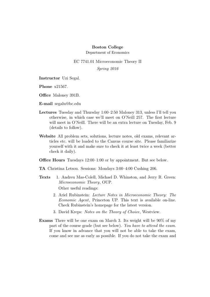 Boston College EC 7741.01 Microeconomic Theory II Spring 2016 Instructor  Uzi Segal.