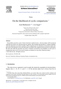 On the likelihood of cyclic comparisons Ariel Rubinstein , Uzi Segal Notes