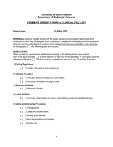 STUDENT ORIENTATION to CLINICAL FACILITY