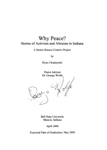 Why Peace? Stories of Activism and Altruism in Indiana cO