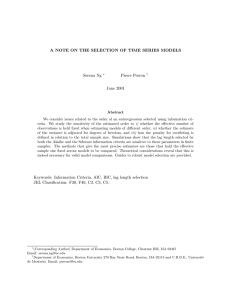 A NOTE ON THE SELECTION OF TIME SERIES MODELS Serena Ng