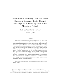 Central Bank Learning, Terms ofTrade Shocks & Currency Risk: Should