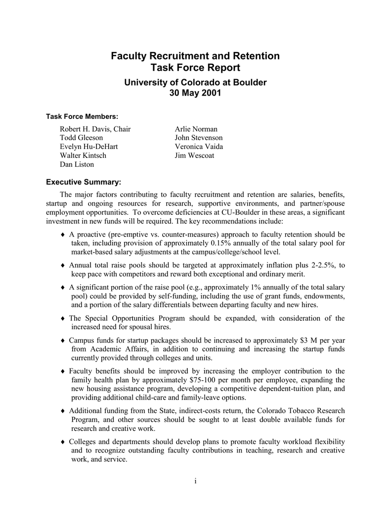 faculty recruitment and retention task force report university of
