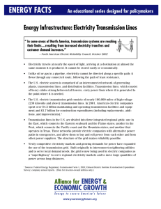 ENERGY FACTS Energy Infrastructure: Electricity Transmission Lines