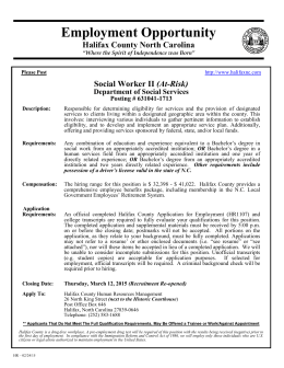 Employment Opportunity Halifax County North Carolina (At-Risk)