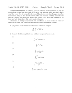 Math 126-101 CRN 31611 Carter Sample Test 1 Spring 2016