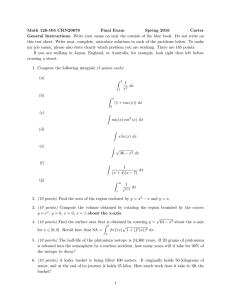 Math 126-104 CRN20678 Final Exam Spring 2016 Carter