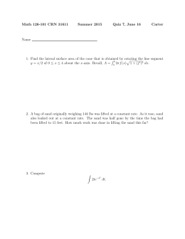 Math 126-101 CRN 31611 Summer 2015 Quiz 7, June 16 Carter