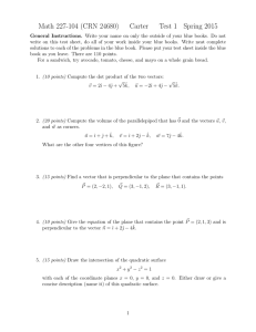 Math 227-104 (CRN 24680) Carter Test 1 Spring 2015