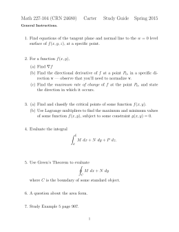 Math 227-104 (CRN 24680) Carter Study Guide Spring 2015
