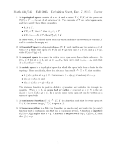 Math 434/542 Fall 2015 Definition Sheet, Dec. 7, 2015 Carter