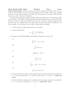 Math 126-103 (CRN 12418) Fall 2014 Test 1 Carter