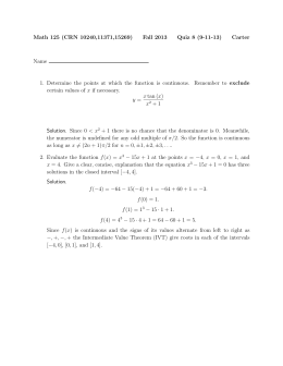 Math 125 (CRN 10240,11371,15269) Fall 2013 Quiz 8 (9-11-13) Carter