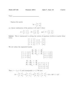 Math 237-101 Summer 2013 Quiz 7, June 18 Carter