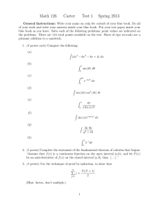 Math 126 Carter Test 1 Spring 2013