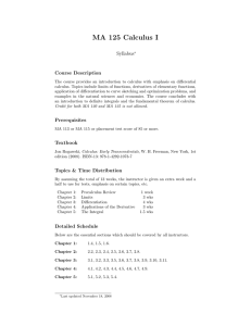 MA 125 Calculus I Syllabus Course Description
