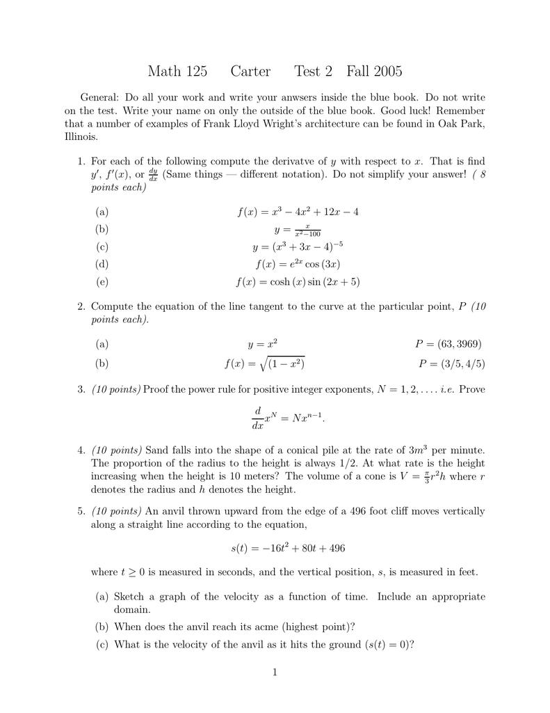 Math 125 Carter Test 2 Fall 2005