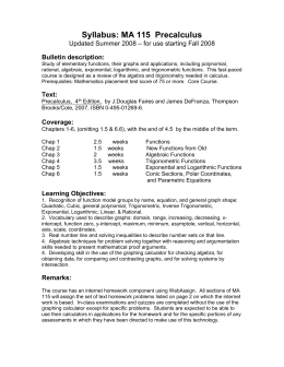 Syllabus: MA 115  Precalculus – for use starting Fall 2008