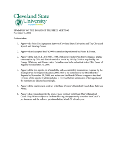 SUMMARY OF THE BOARD OF TRUSTEES MEETING November 7, 2008 Actions taken:
