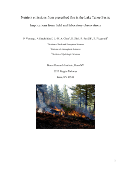 Nutrient emissions from prescribed fire in the Lake Tahoe Basin: