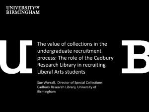 The value of collections in the undergraduate recruitment Research Library in recruiting