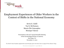 Employment Experiences of Older Workers in the Kevin E. Cahill
