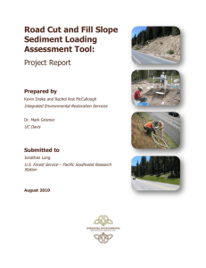 Road Cut and Fill Slope Sediment Loading Assessment Tool: