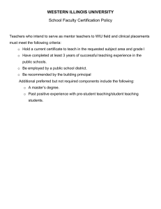 WESTERN ILLINOIS UNIVERSITY School Faculty Certification Policy