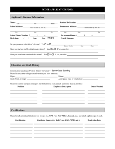 ECOEE APPLICATION FORM Applicant's Personal Information