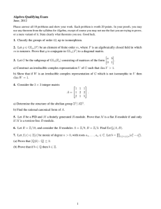 Algebra Qualifying Exam June, 2012