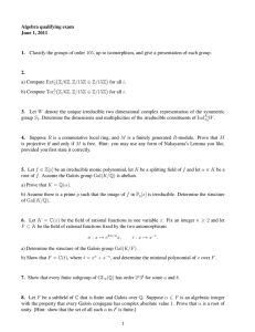 Algebra qualifying exam June 1, 2011