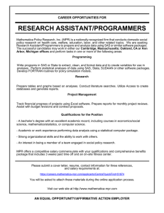 RESEARCH ASSISTANT/PROGRAMMERS  CAREER OPPORTUNITIES FOR