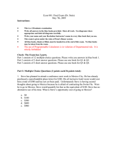 Econ 001: Final Exam  (Dr. Stein) May 7th, 2009 • Instructions: