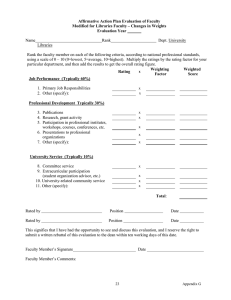 Affirmative Action Plan Evaluation of Faculty Evaluation Year