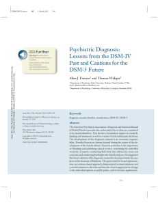 Psychiatric Diagnosis: Lessons from the DSM-IV Further